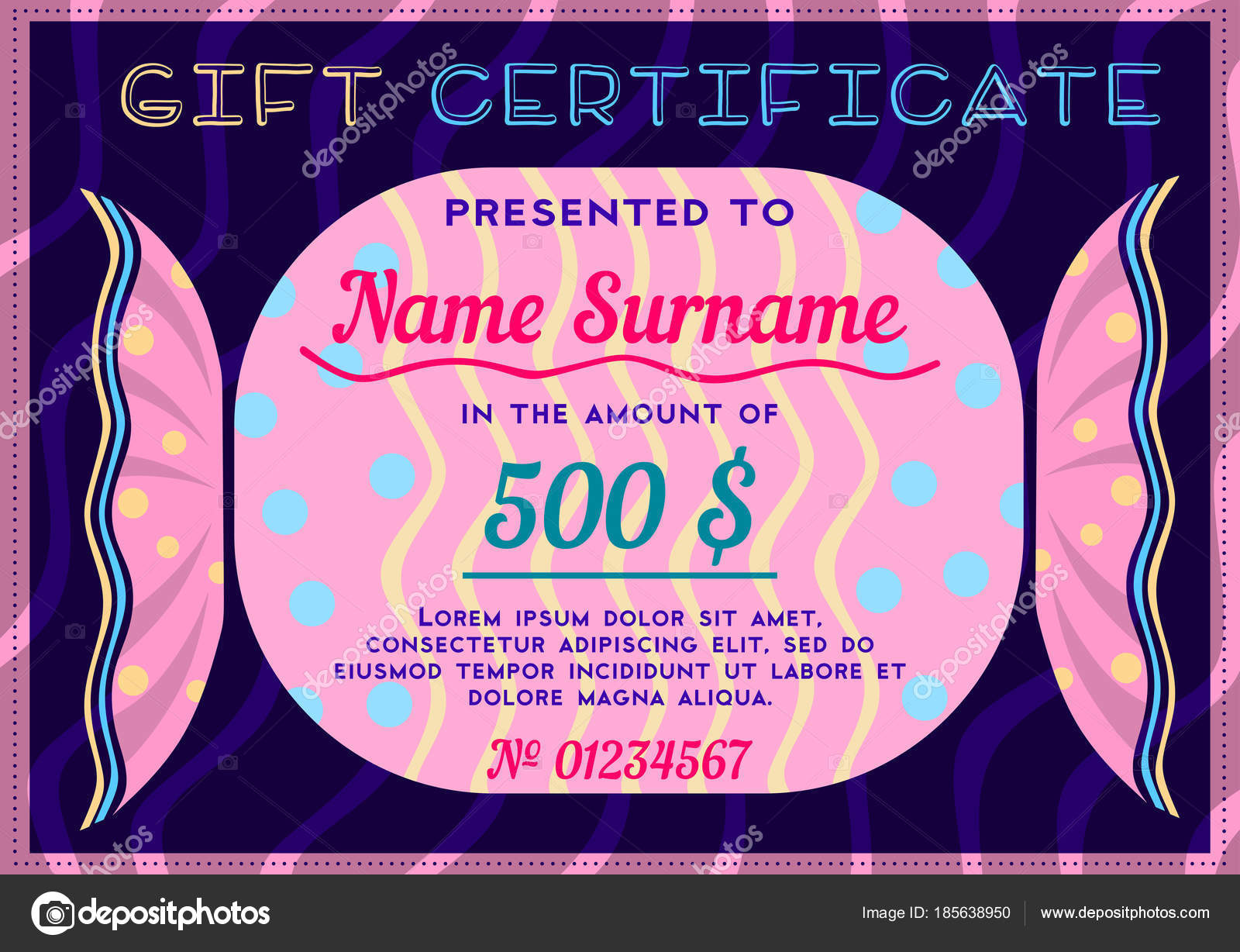 children gift certificate form bright pink candy dark background