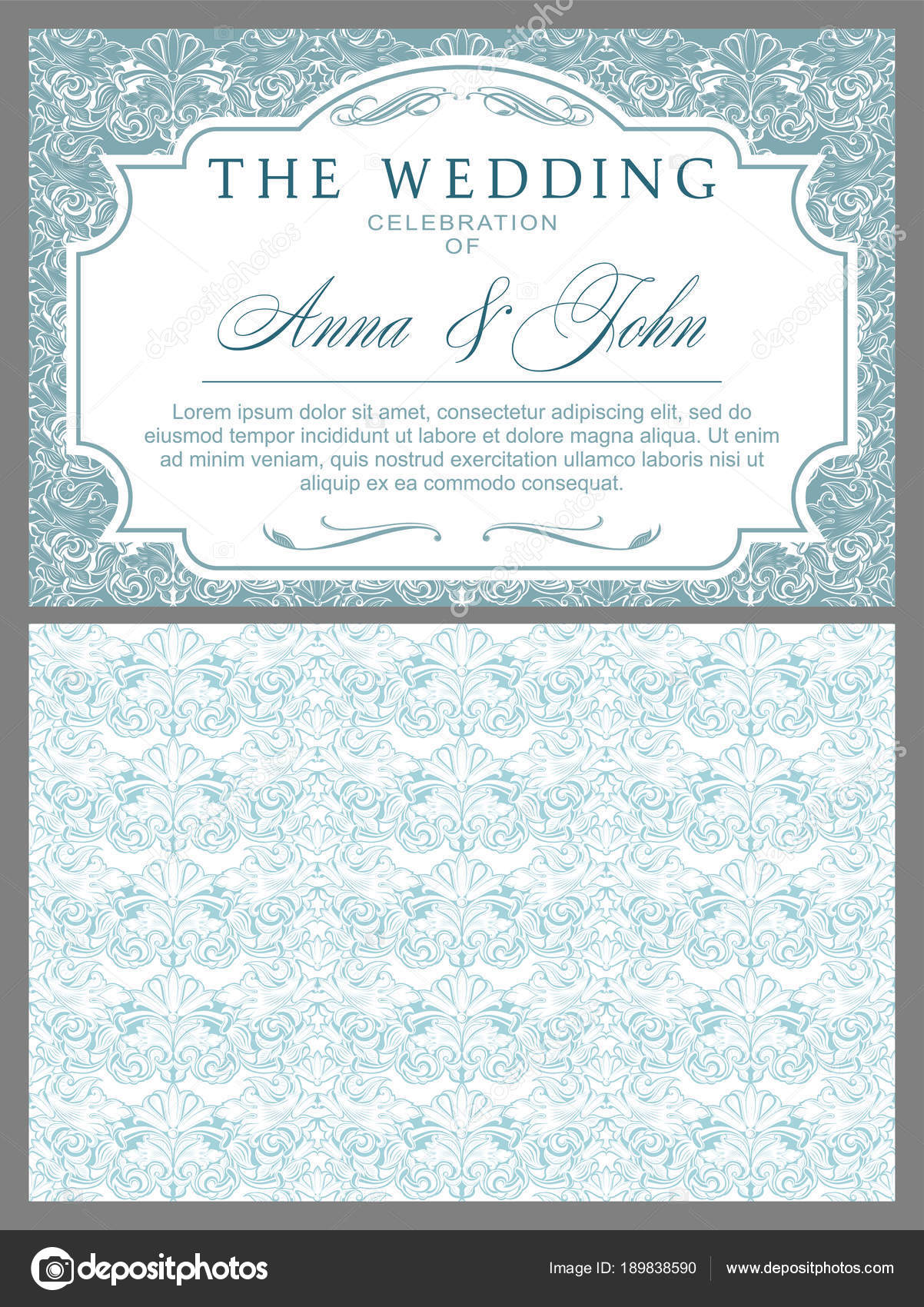 Wedding Invitations Baroque Style Light Blue White Vintage Rococo ...