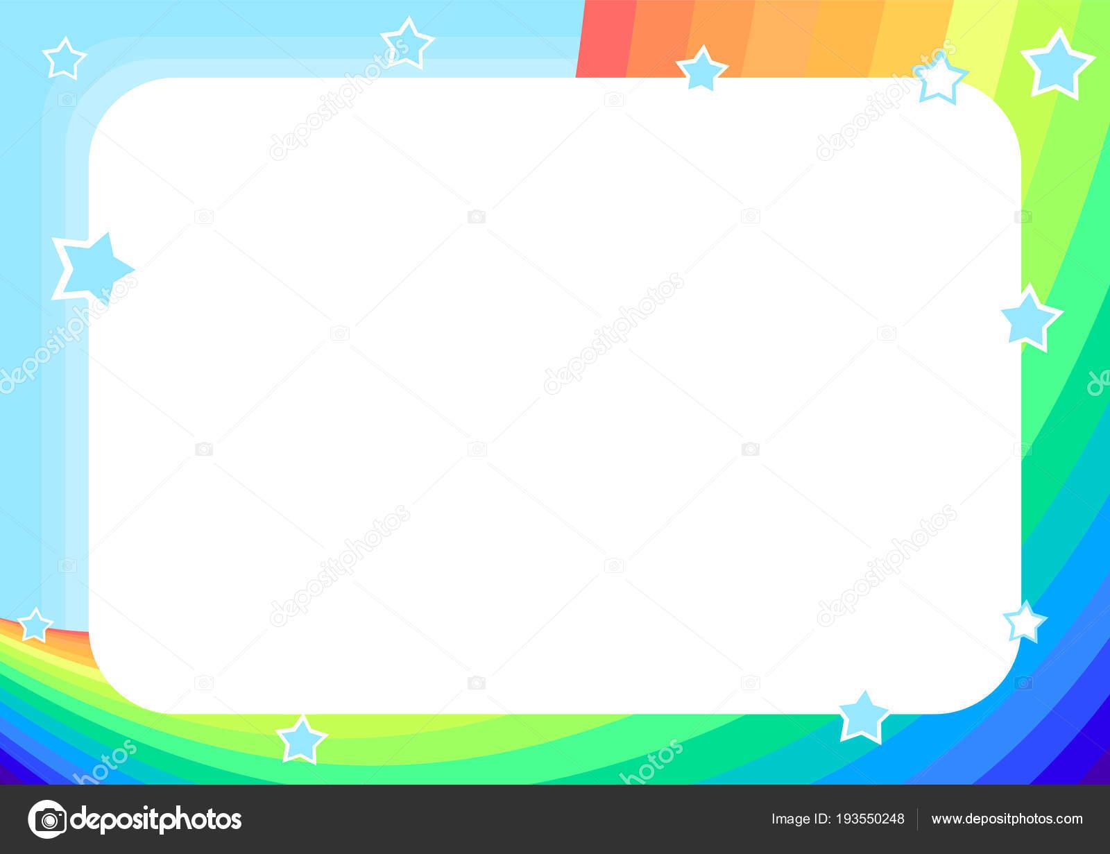 Frame Rainbow Sky Stars Cartoon Style Background Children ...