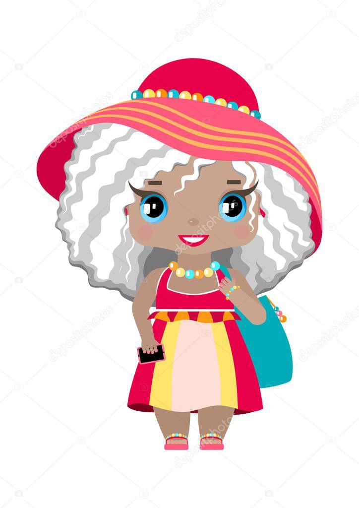 Playa Niña Con Ojos Azules Pelo Rubio Ceniza Ondulado Vestido — Archivo  Imágenes Vectoriales © Xennya  195775768 1d3103316c24