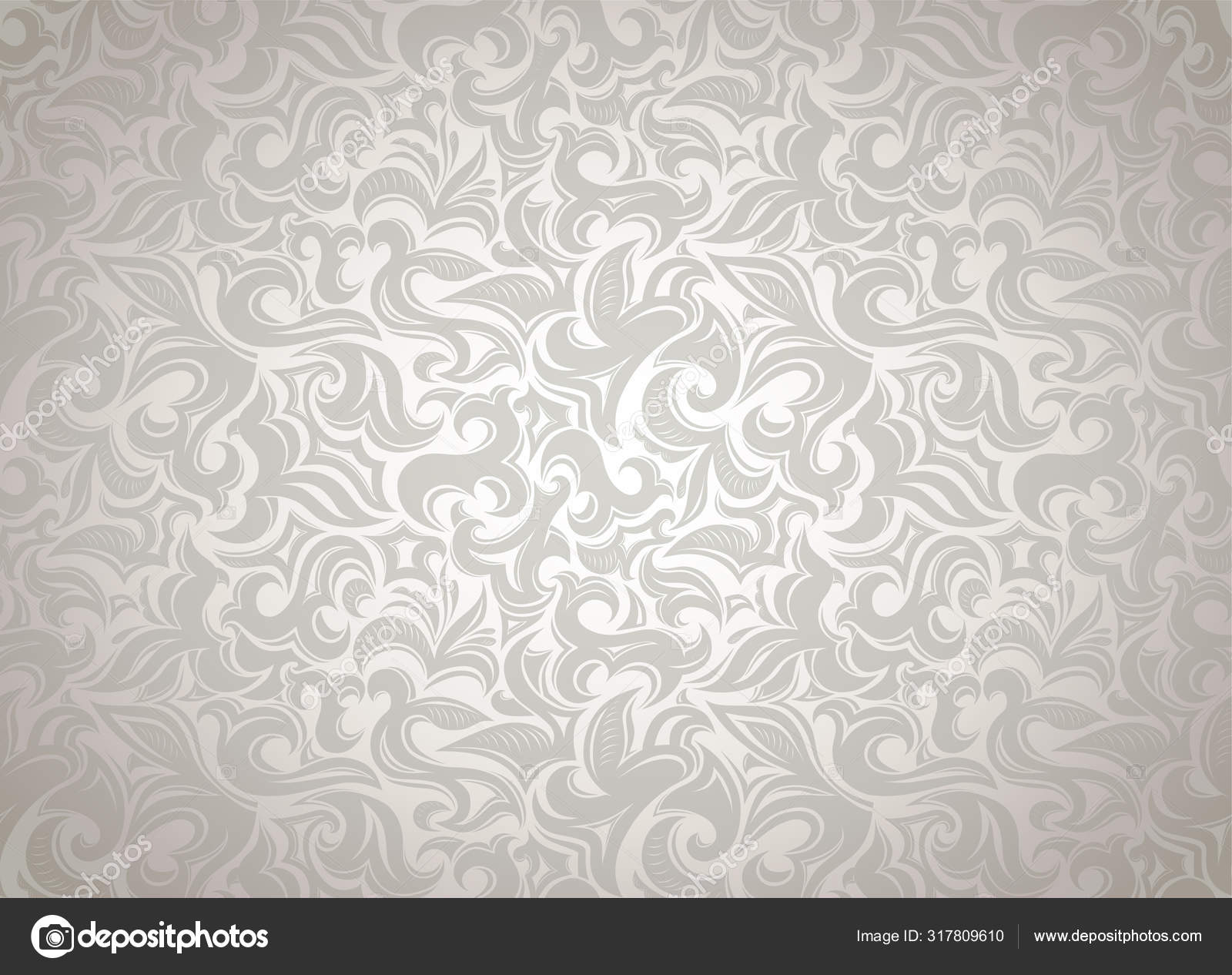 Damask Vintage White Background Floral Elements Gothic Baroque