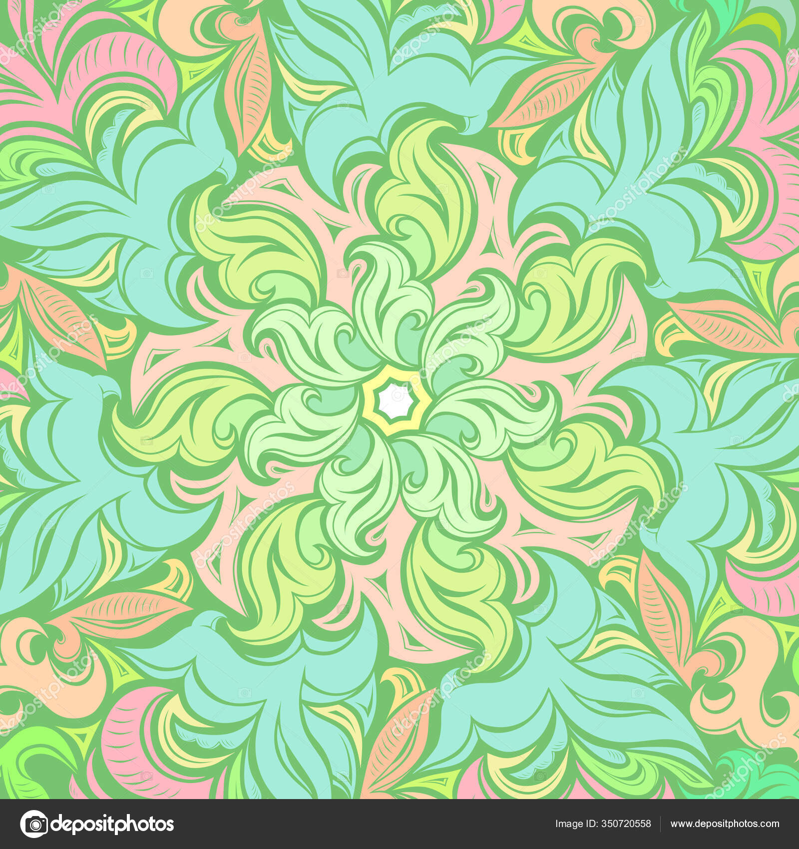 Vintage Decorative Background Soft Green Spring Mandala Plant Decorative Floral Vector Image By C Xennya Vector Stock 350720558