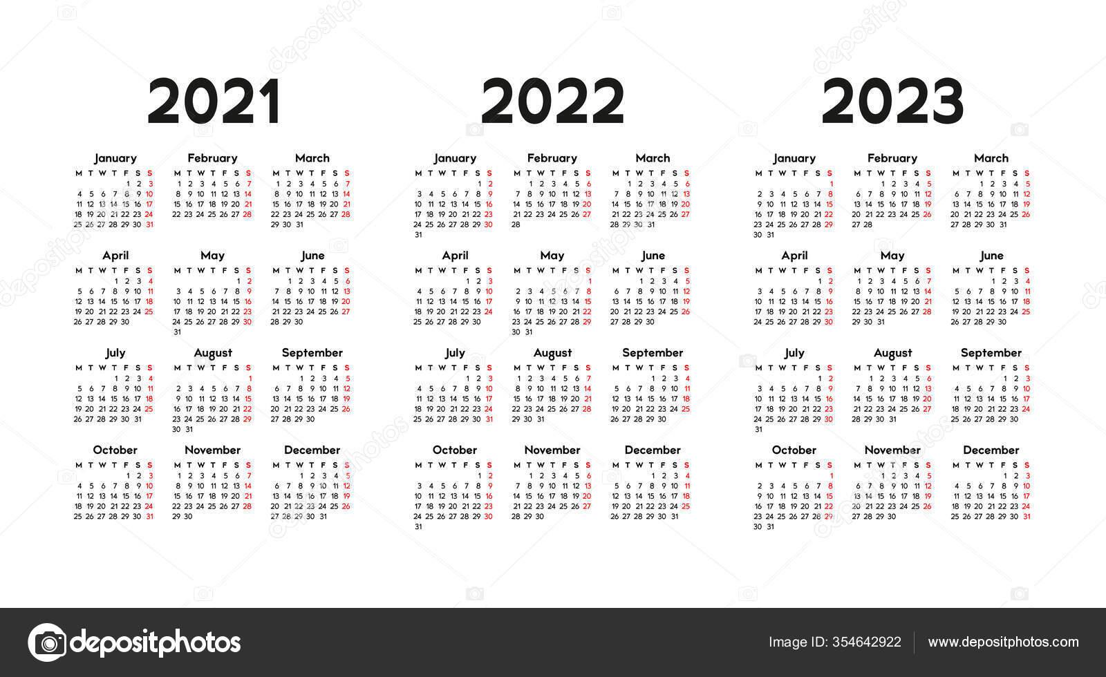 2023 And 2022 Calendar.Calendar 2021 2022 2023 Week Starts Monday Basic Business Template Vector Image By C Xennya Vector Stock 354642922