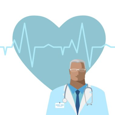 Medical background with doctor, hearth, pulse line and place for text. Vector illustration in a flat style