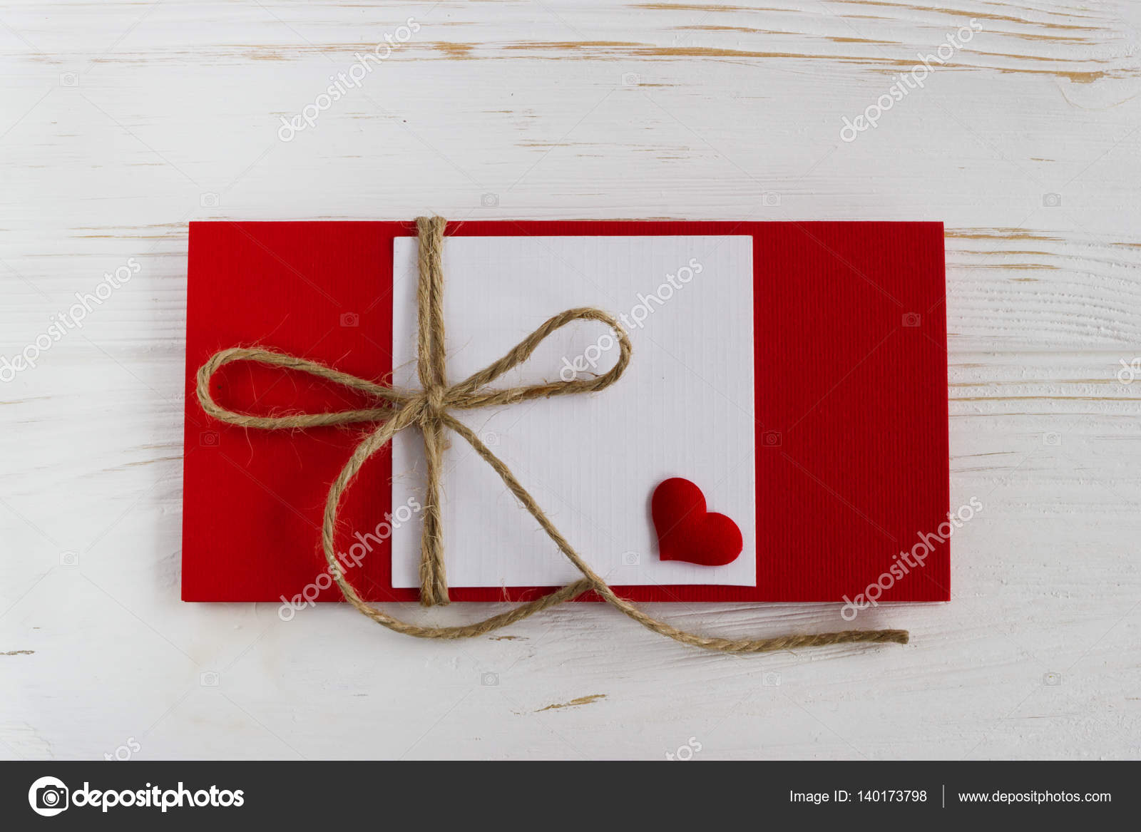 Blank Greeting Card On A White Wooden Table Valentine Day Stock