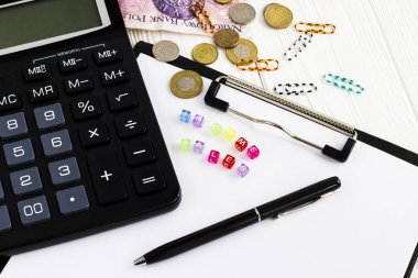 business concept calculator,diary,pen and office accessories