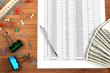 business concept calculator,money,pen and office accessories