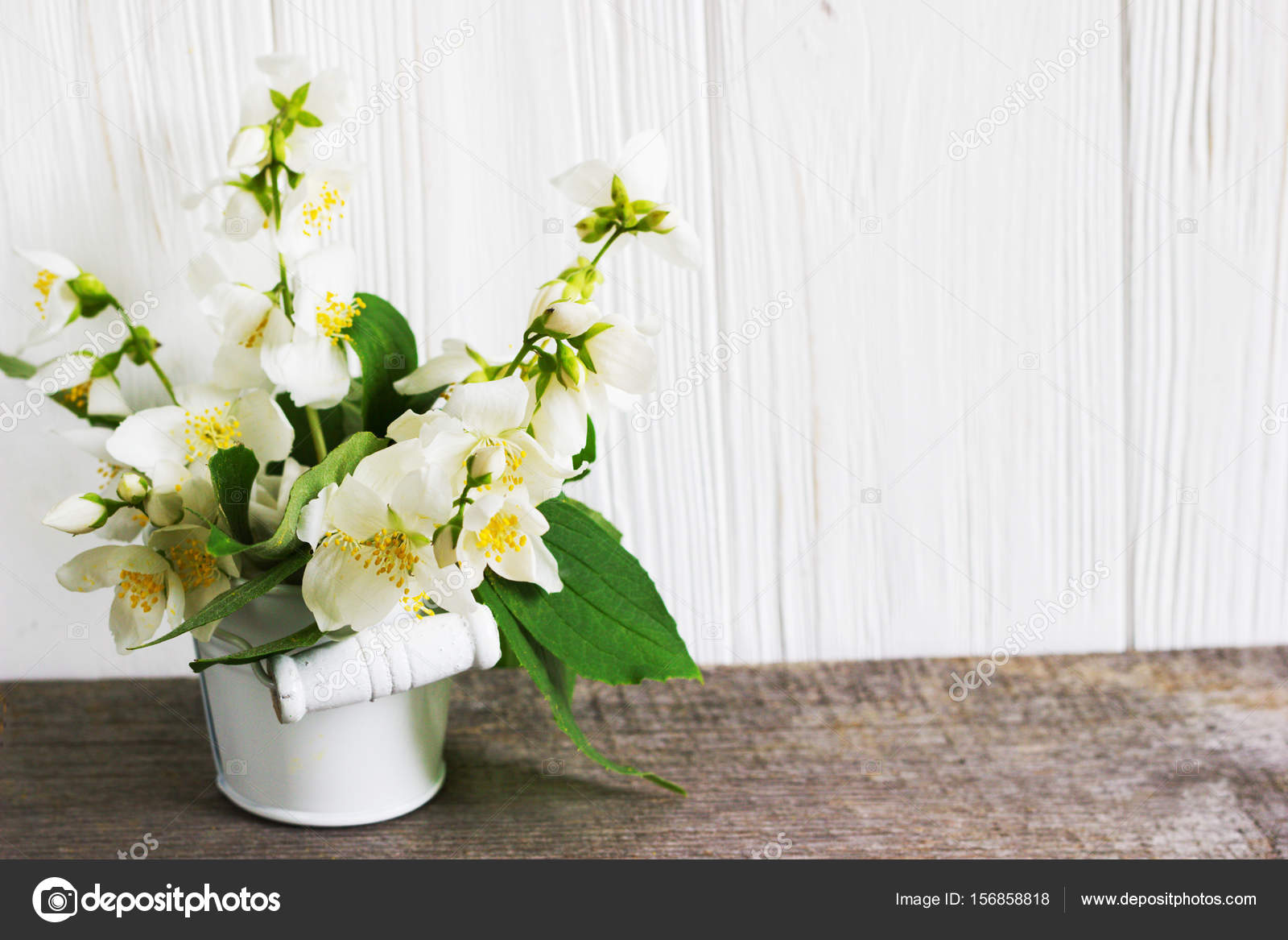 Jasmine Flower On Wooden Table Greeting Card Stock Photo
