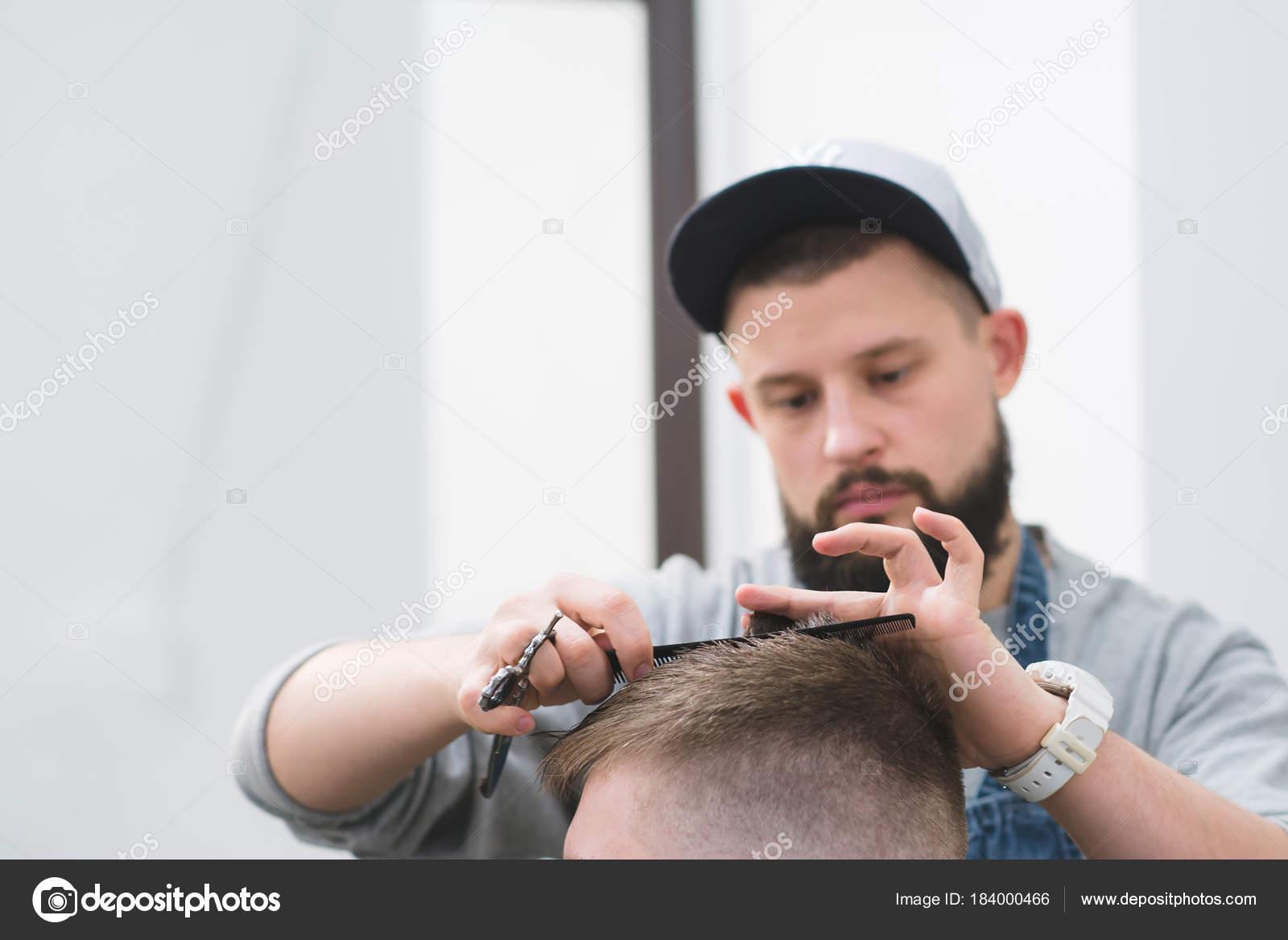 Mens Haircut In Barbershop Master Barber Creates A Stylish Male
