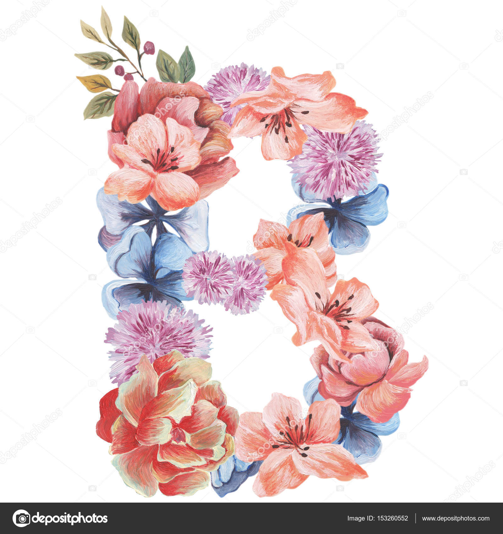 letter b of watercolor flowers isolated hand drawn on a white background wedding design. Black Bedroom Furniture Sets. Home Design Ideas