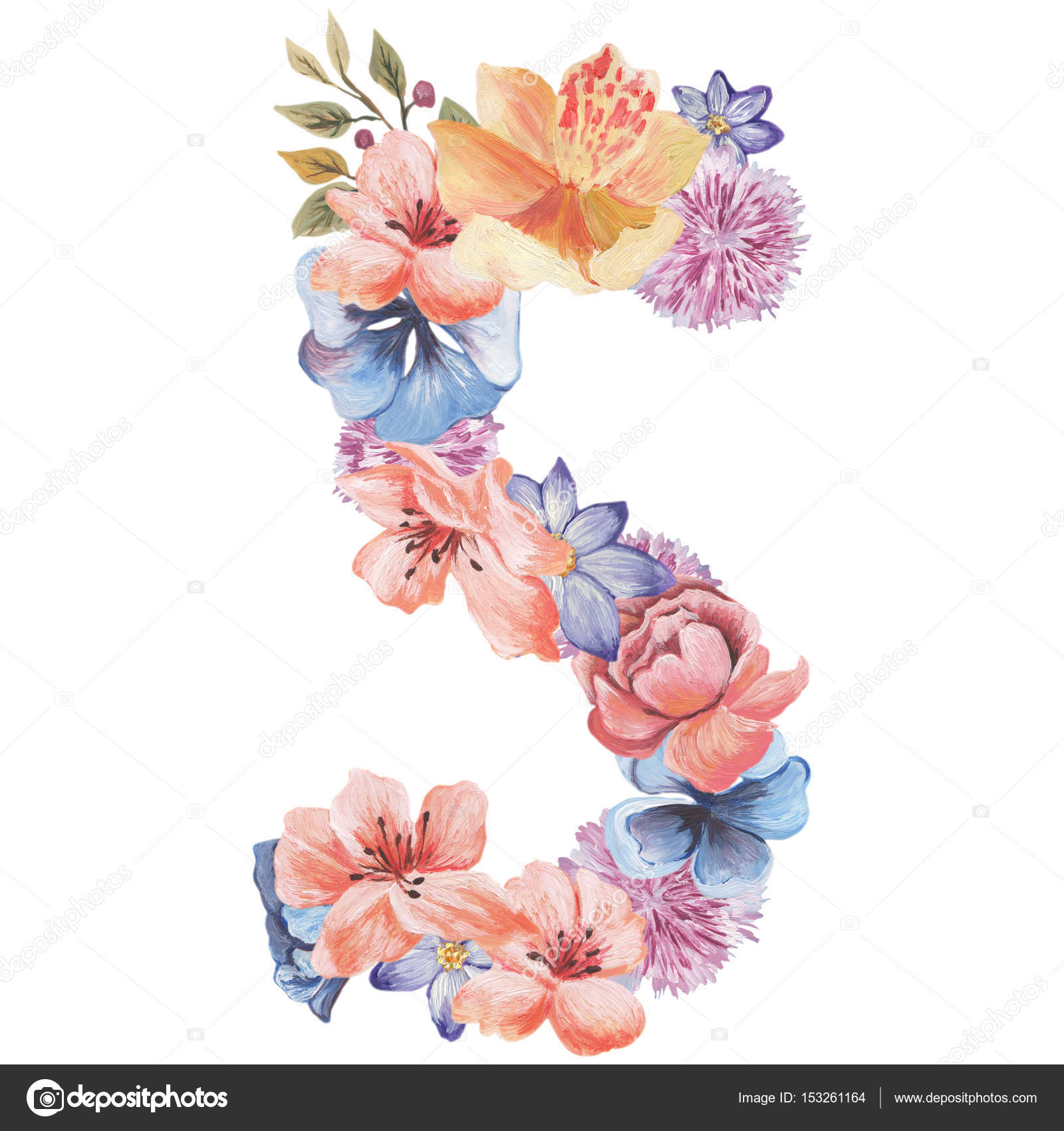 letter s of watercolor flowers isolated hand drawn on a white background wedding design