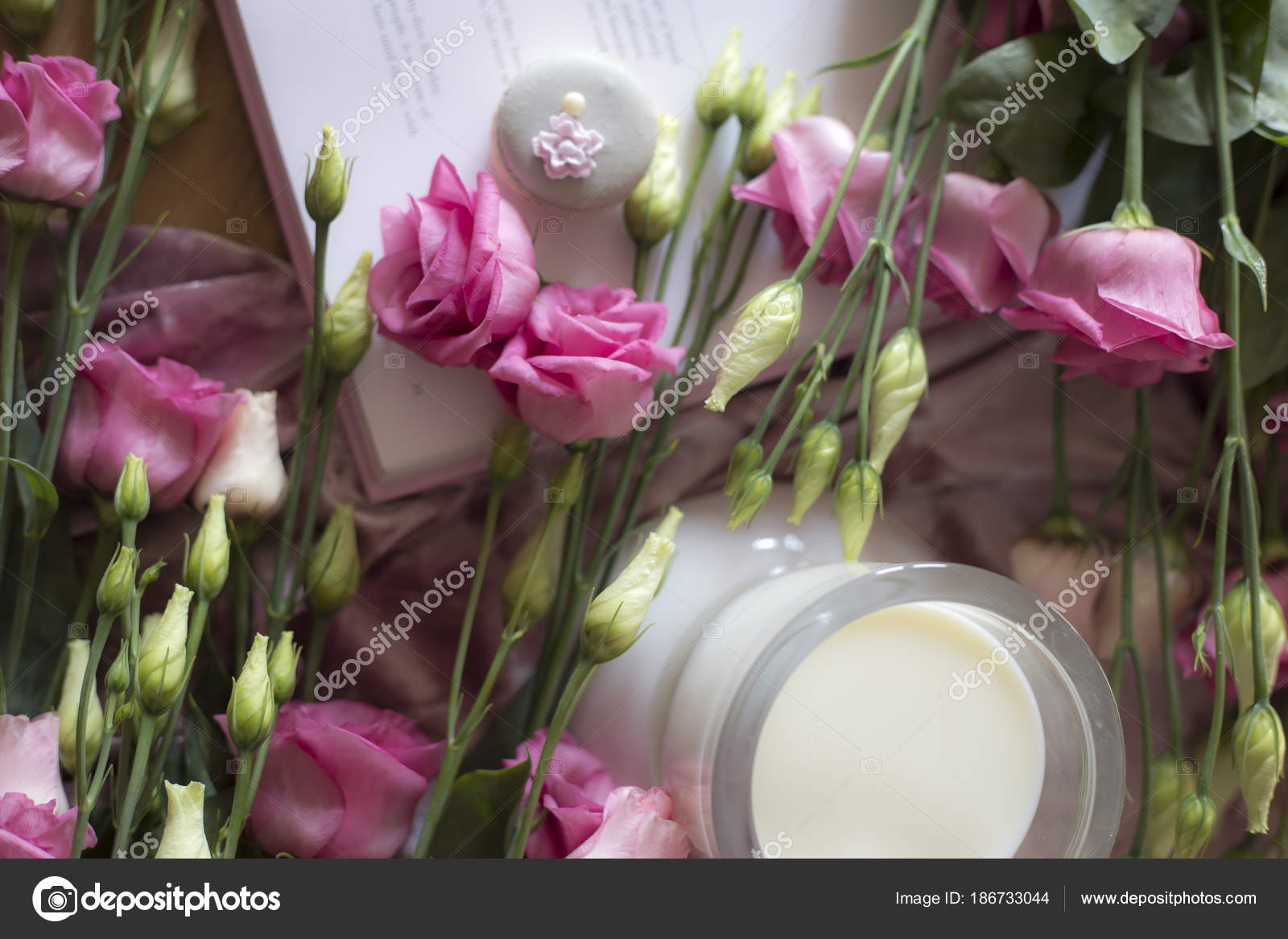 Closeup Colorful Spring Flowers Bouquet Cookies Book Table — Stock ...