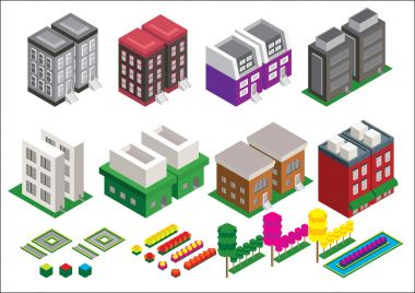 Set of the isometric vector elements. Skyscrapers, park with pon