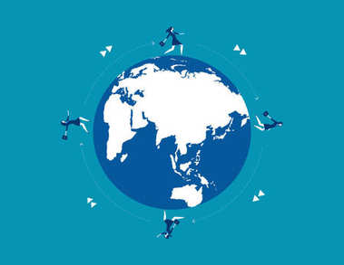 Businesswoman team running on globe for success. Concept busines
