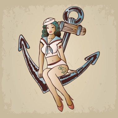 llustration of a sailor girl sitting an anchor