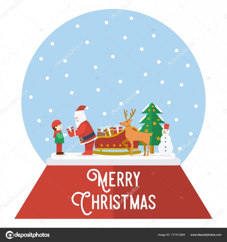 Vettore Babbo Natale Simpatiche Sfera Di Cristallo Di