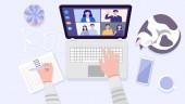 Ansicht von Menschenhänden mit Laptop für Videokonferenzen zu Hause. Vektor