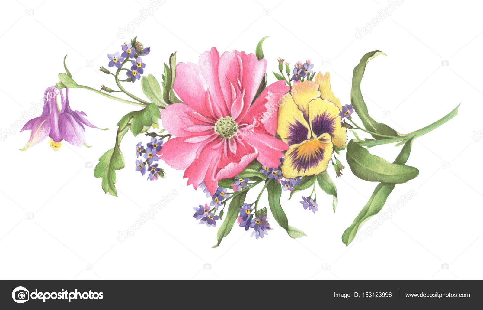 Watercolor bouquet of flowers hand drawn watercolor - High resolution watercolor flowers ...