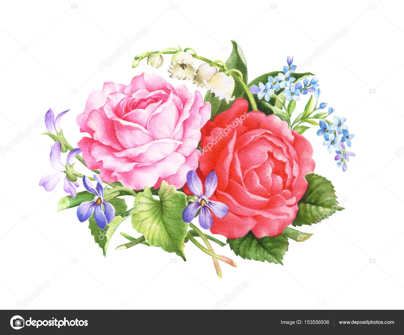 Card Template With Watercolor Roses Raster Illustration Clipping