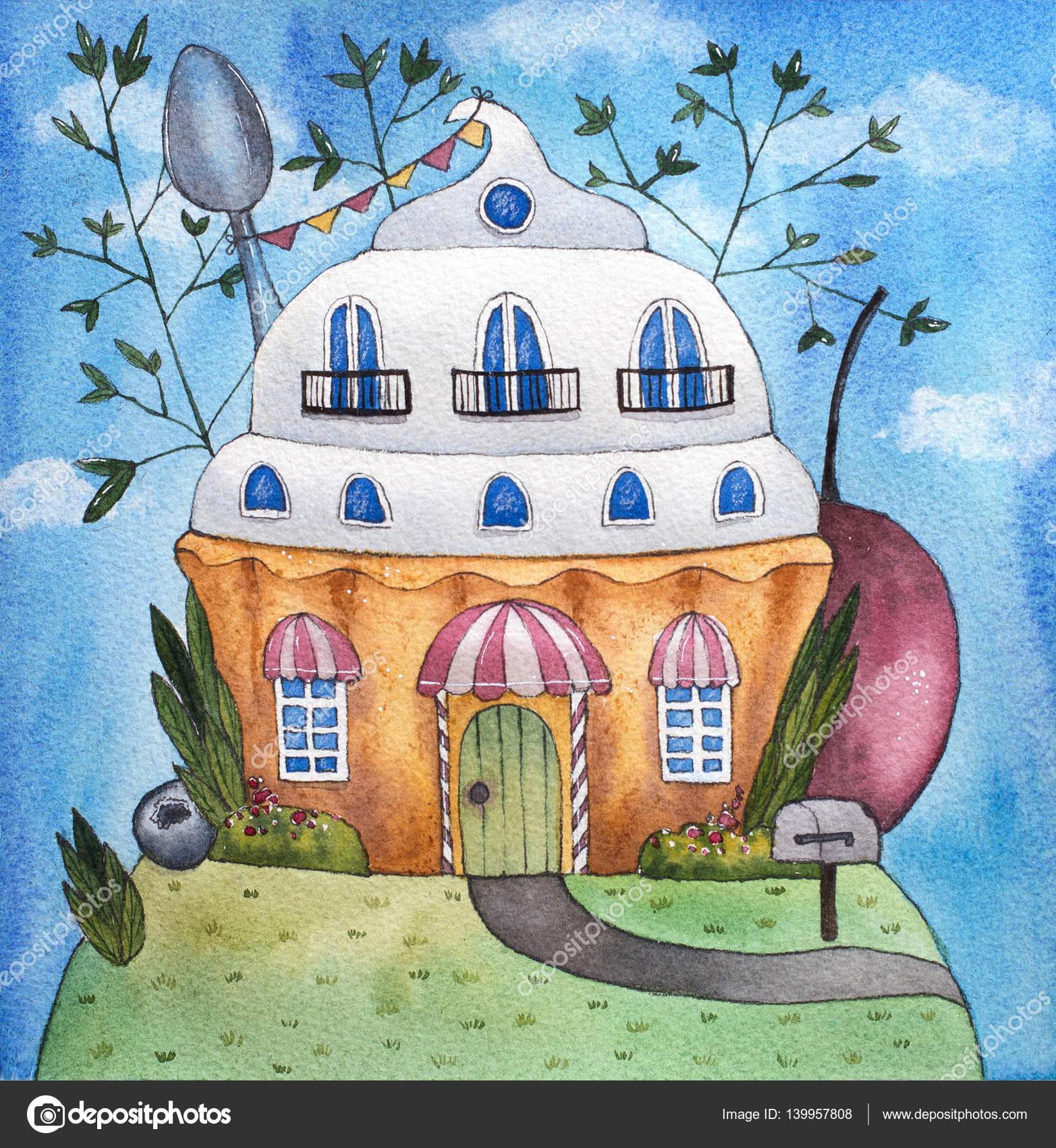 Kuchen Haus Aquarell Illustration Stockfoto C Dariapn 139957808