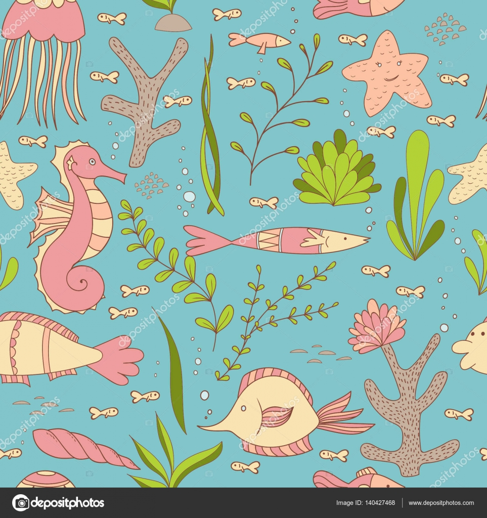 Sotto Il Mare Seamless Pattern Con Pesci Cavallucci Marini
