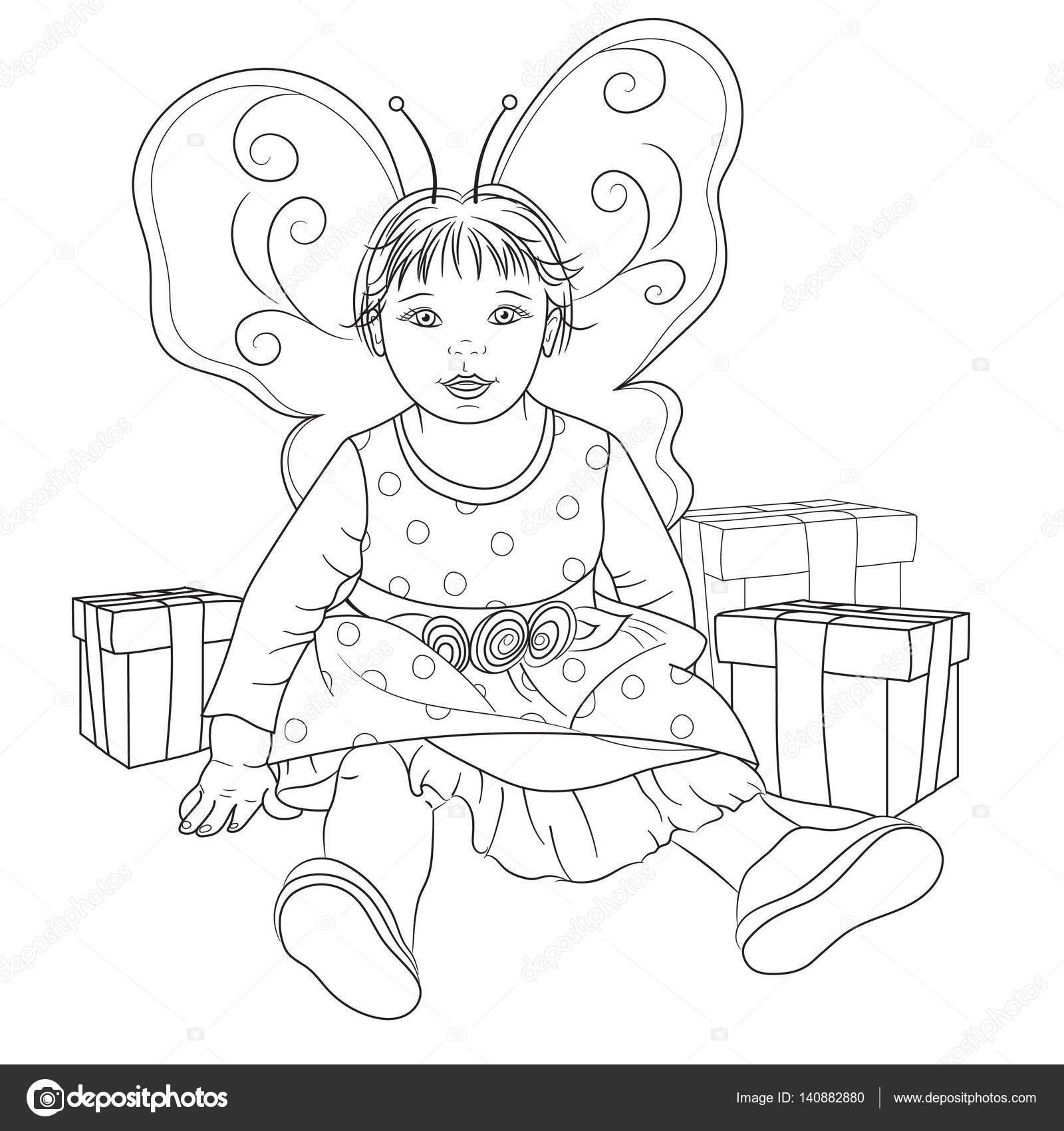 Peri Boyama Kitabı Için Hediyeler Ile Kız Bebek Stok Foto