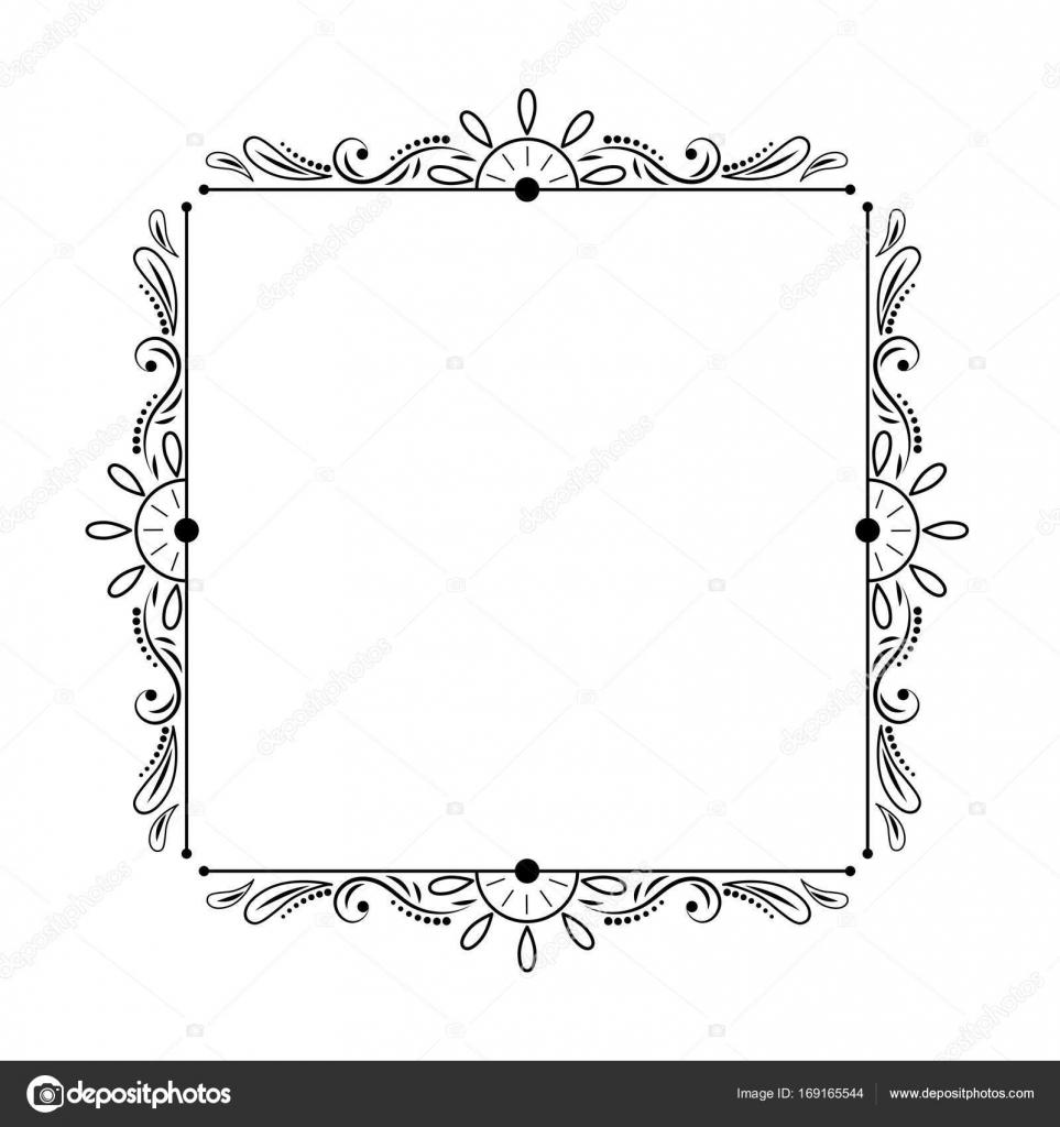 marco cuadrado vintage negro con estilo elegante — Vector de stock ...