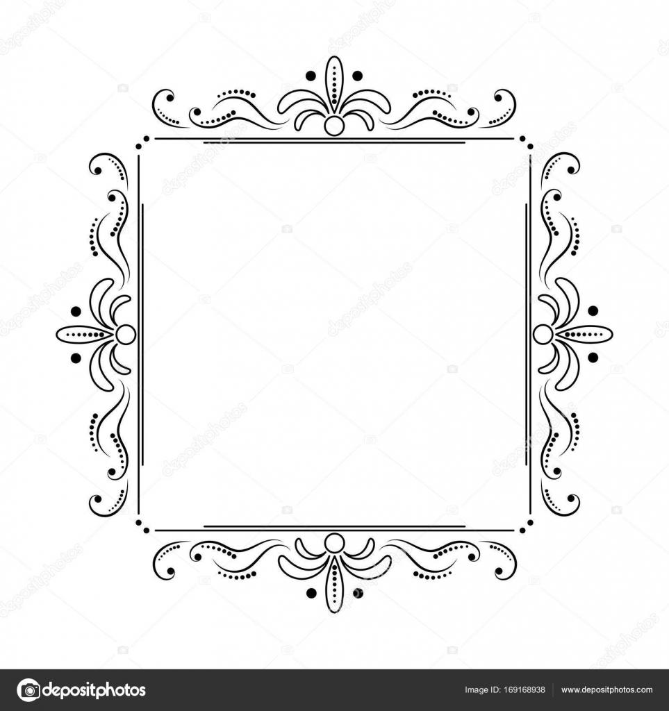 cuadrado negro elegante marco con swirls y puntos — Vector de stock ...