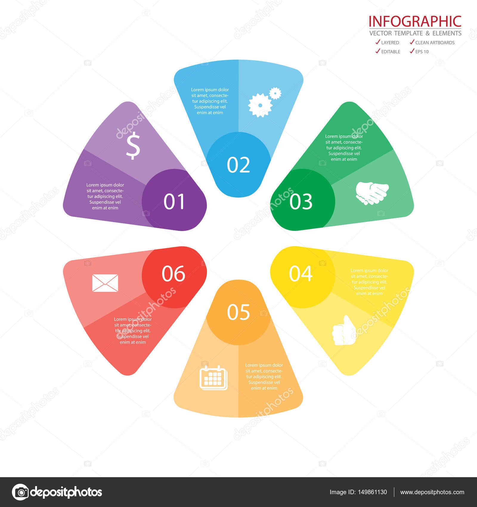 Vector Circle Arrows Infographics Set Template For Diagram Graph