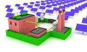 Fotografie 3D Anlage Energie mit Solarzellen