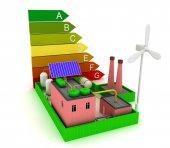 Fotografie 3D Factory Energieeffizienz mit Windmühle, Solar-Panel und Skalierung der Energieeffizienz