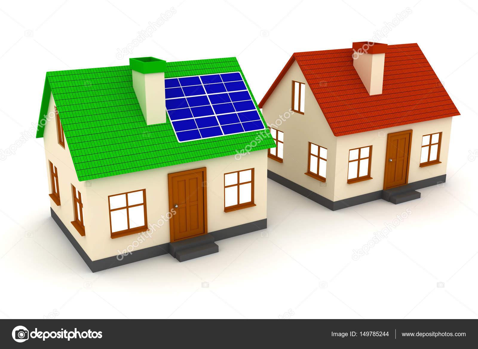Awesome Haus Mit Einem Solar Panel Und Ein Haus Mit Rotem Dach. 3D Illustration U2014