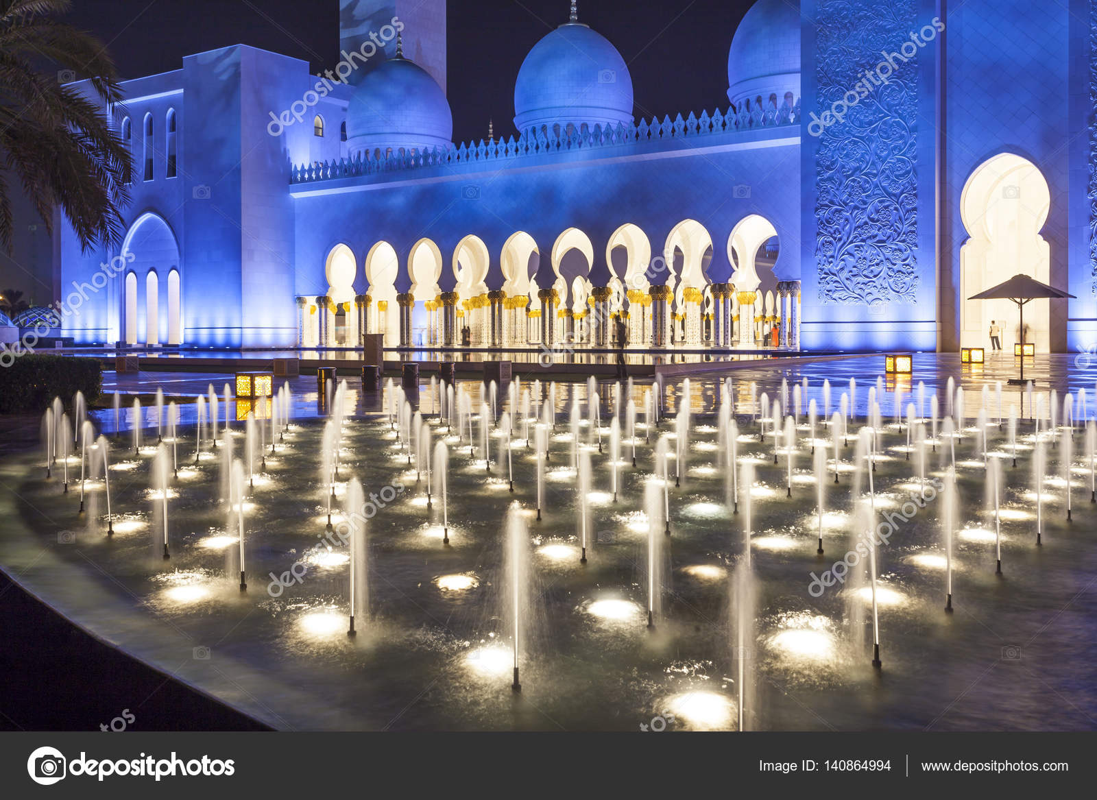 Grand Mosque In Abu Dhabi At Night Stock Editorial Photo