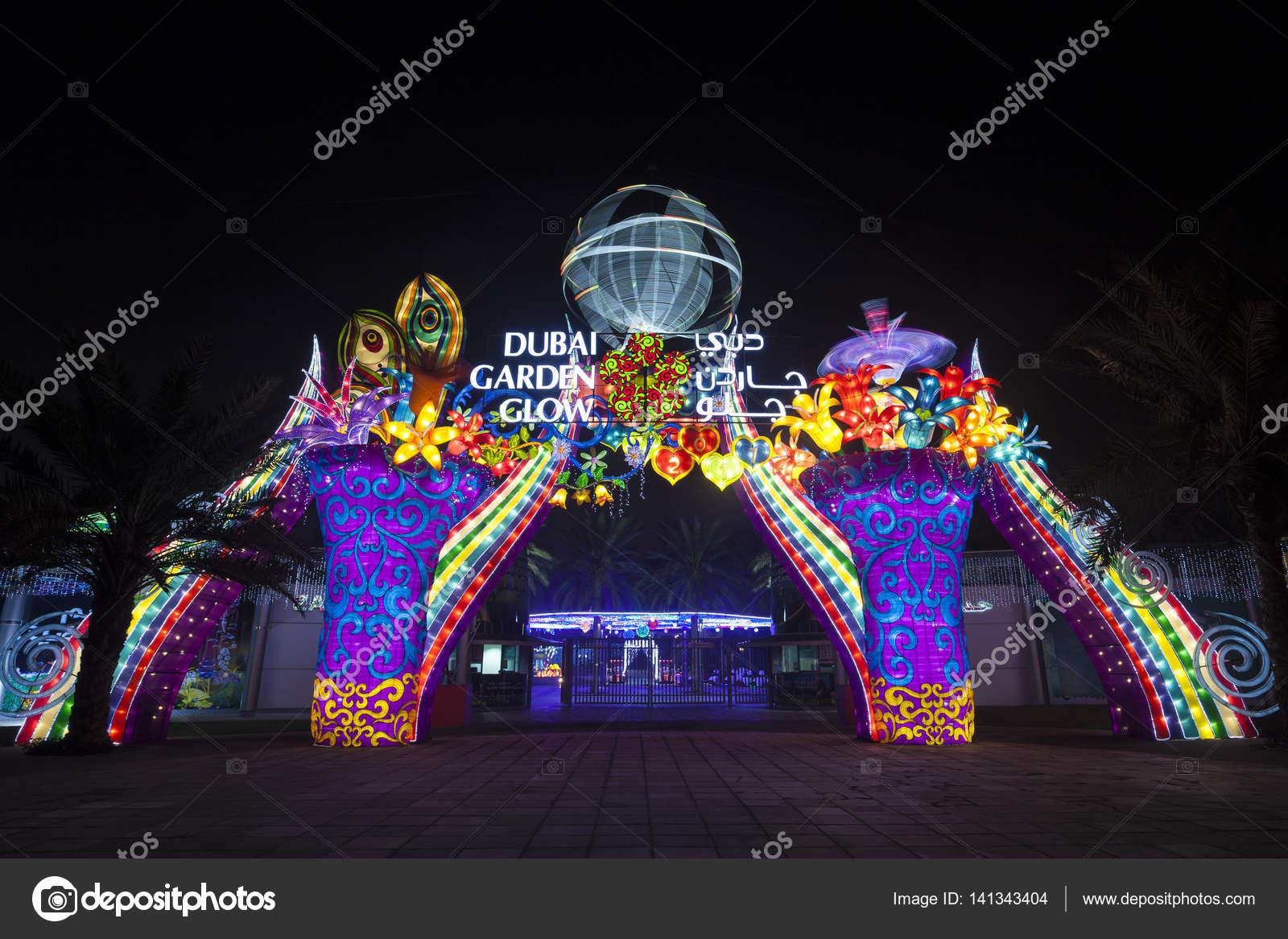 Dubai Garden Glow U2014 Stock Photo