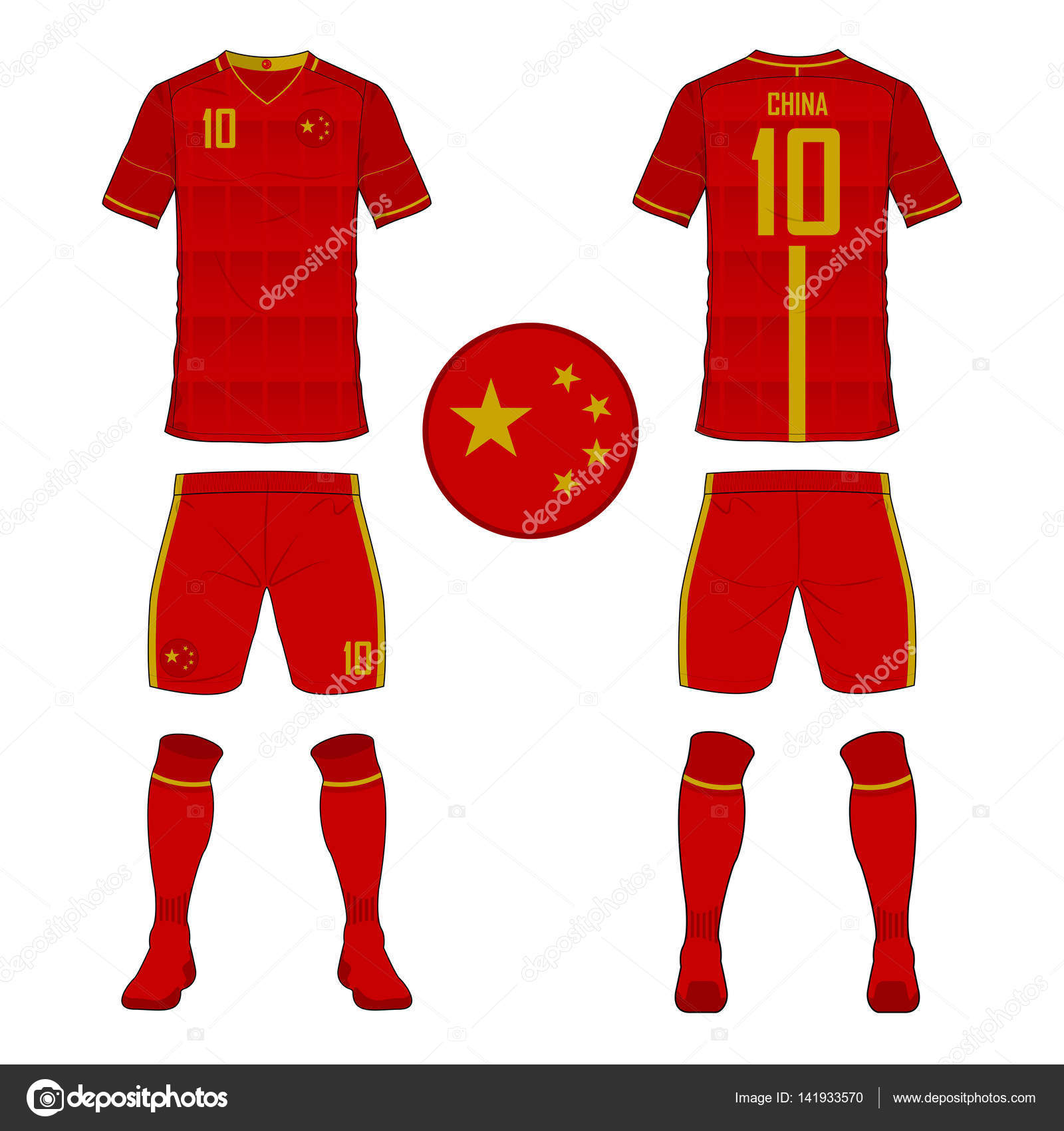 Set of soccer jersey or football kit template for China national football team. Front and back view soccer uniform. Sport shirt mock up. 141933570