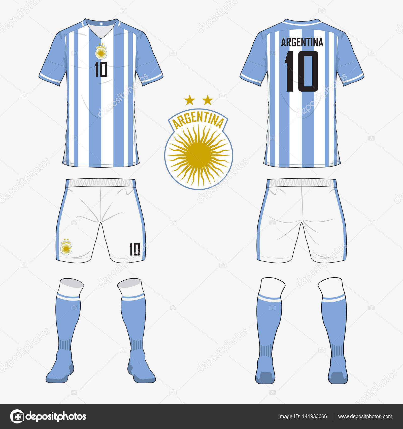 Set Of Soccer Jersey Or Football Kit Template For Argentina National Team Front And Back View Uniform Sport Shirt Mock Up