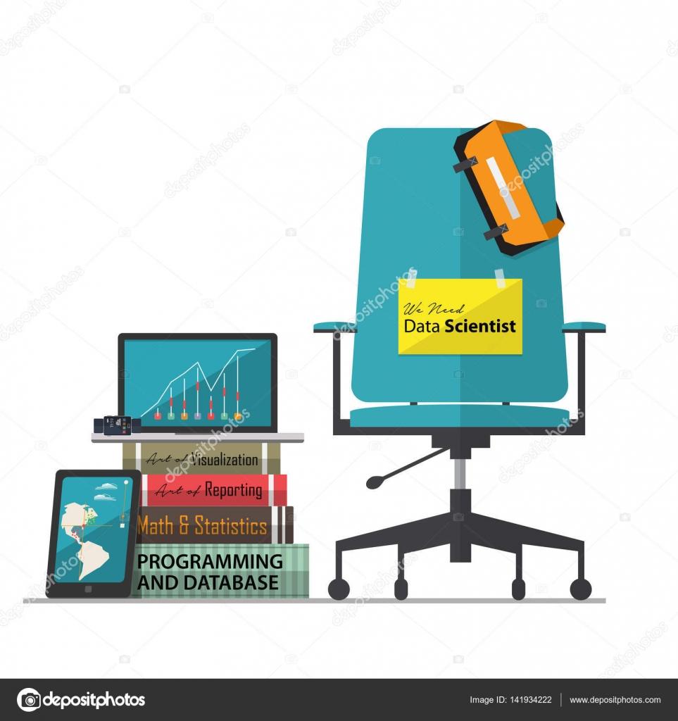 Работа Вакансии Реклама для данных ученый с офисным креслом на рабочем  месте в плоский дизайн. Векторные иллюстрации — Вектор от  tond.ruangwit gmail.com b4a74919823