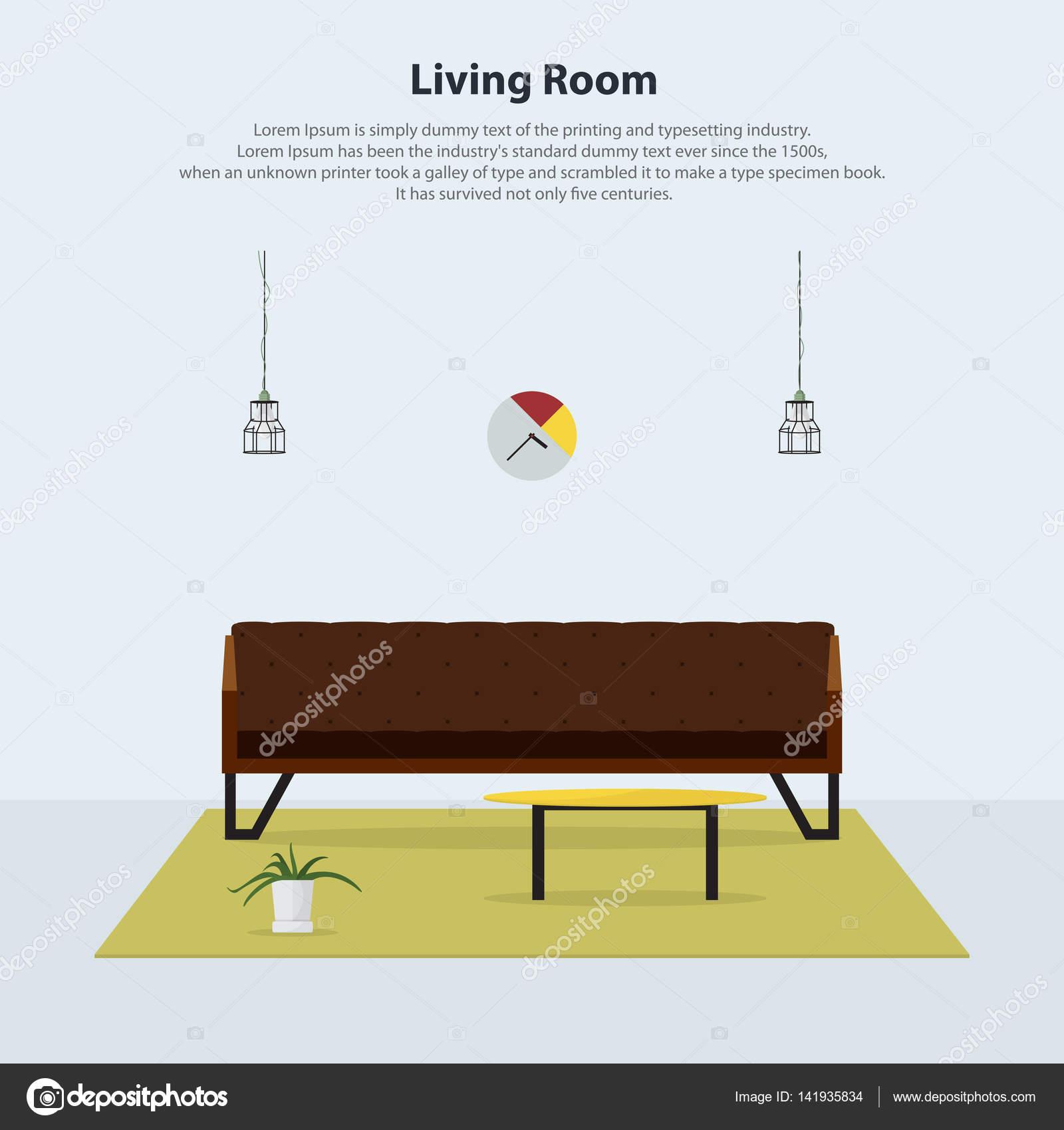 Home Interior Design. Moderne Wohnzimmer Interieur Mit Braunen Sofa, Tisch,  Lampen Und