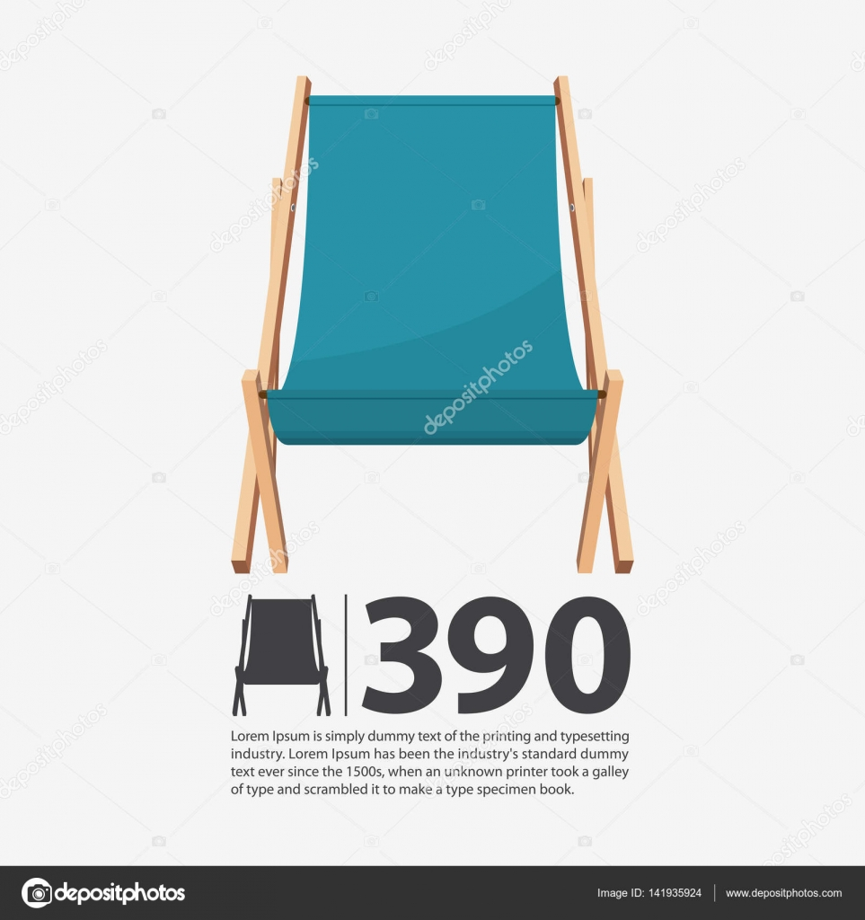 Summer beach chair on isolated background. Wooden seat in flat ...