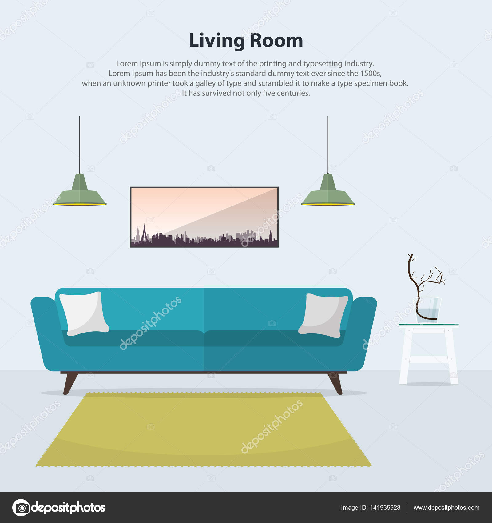 Fesselnde Moderne Tischlampen Ideen Von Wohnzimmer Interieur Mit Blauem Sofa, Tisch, Lampen