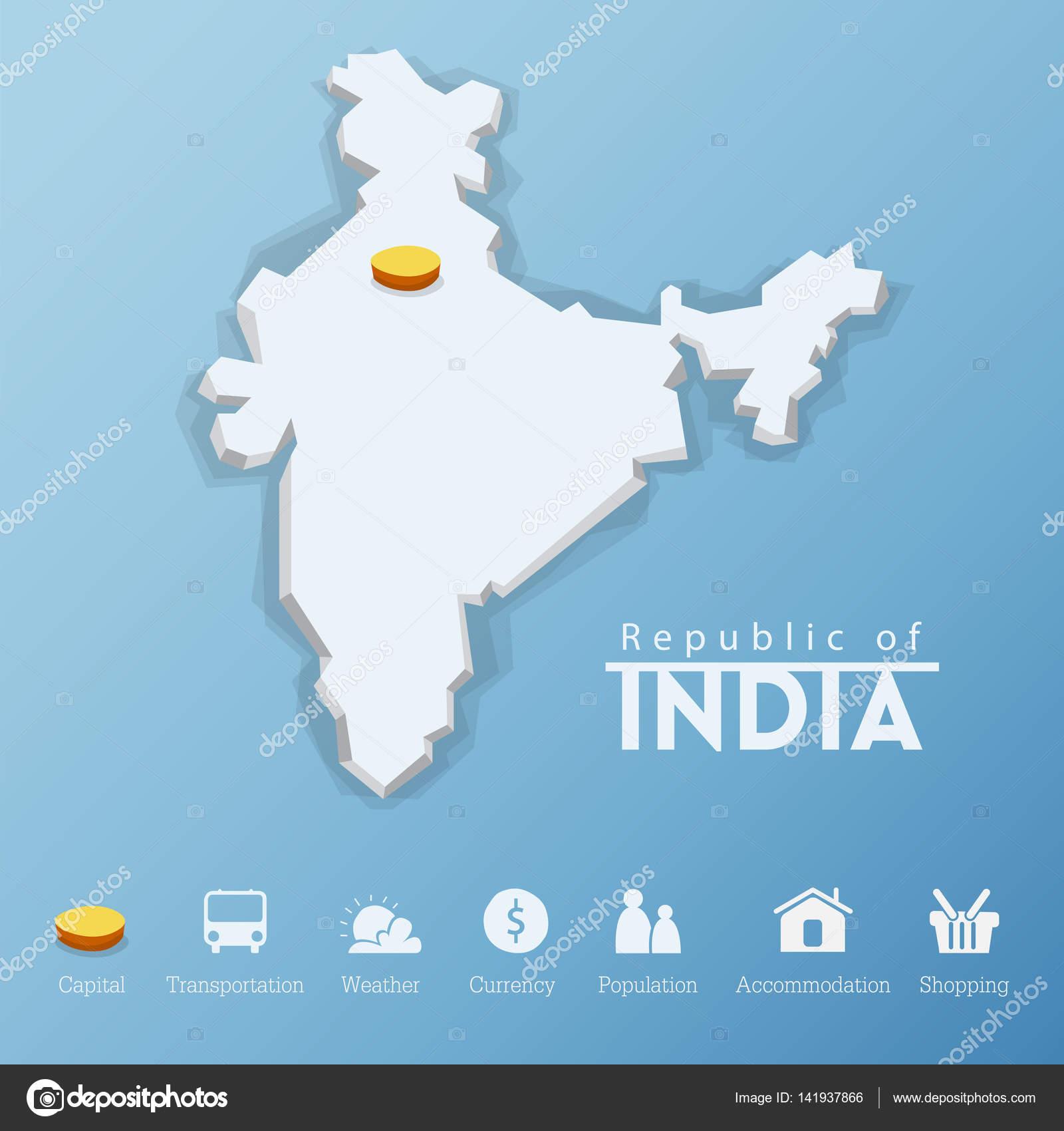 Nueva Delhi, República de la India mapa y viaje infografía diseño de ...