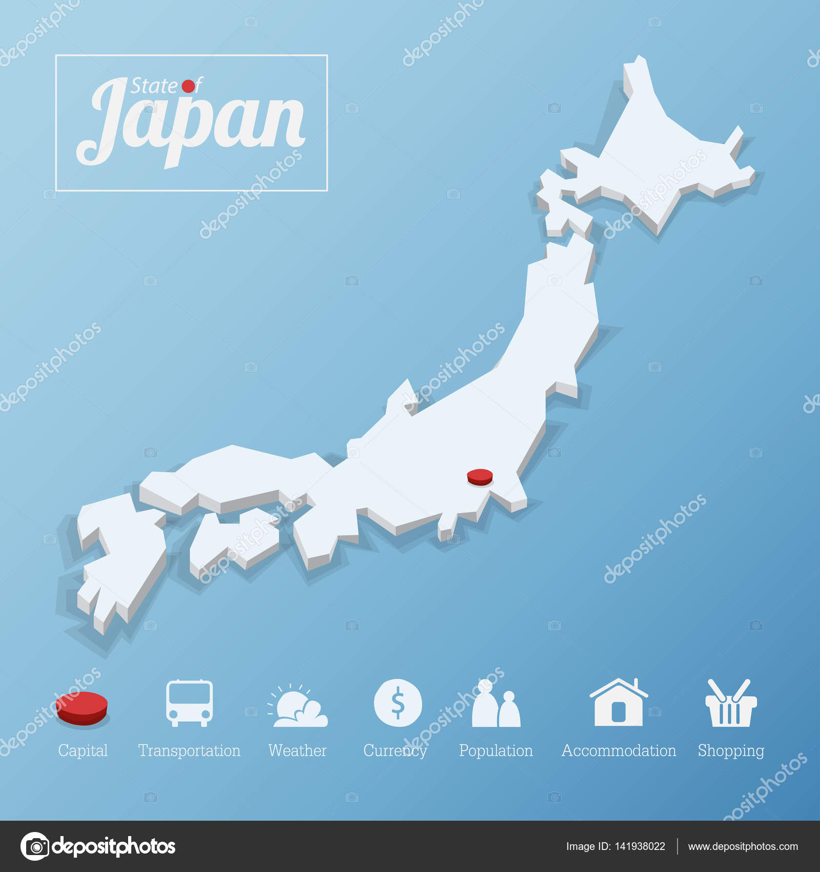 States Of Japan Map Including Tourism Icon In Flat Design For
