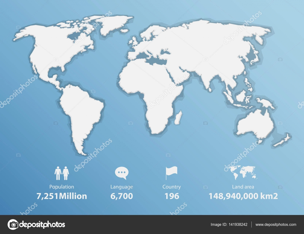 Detailed world map with basic infographic, Blank map in flat ...