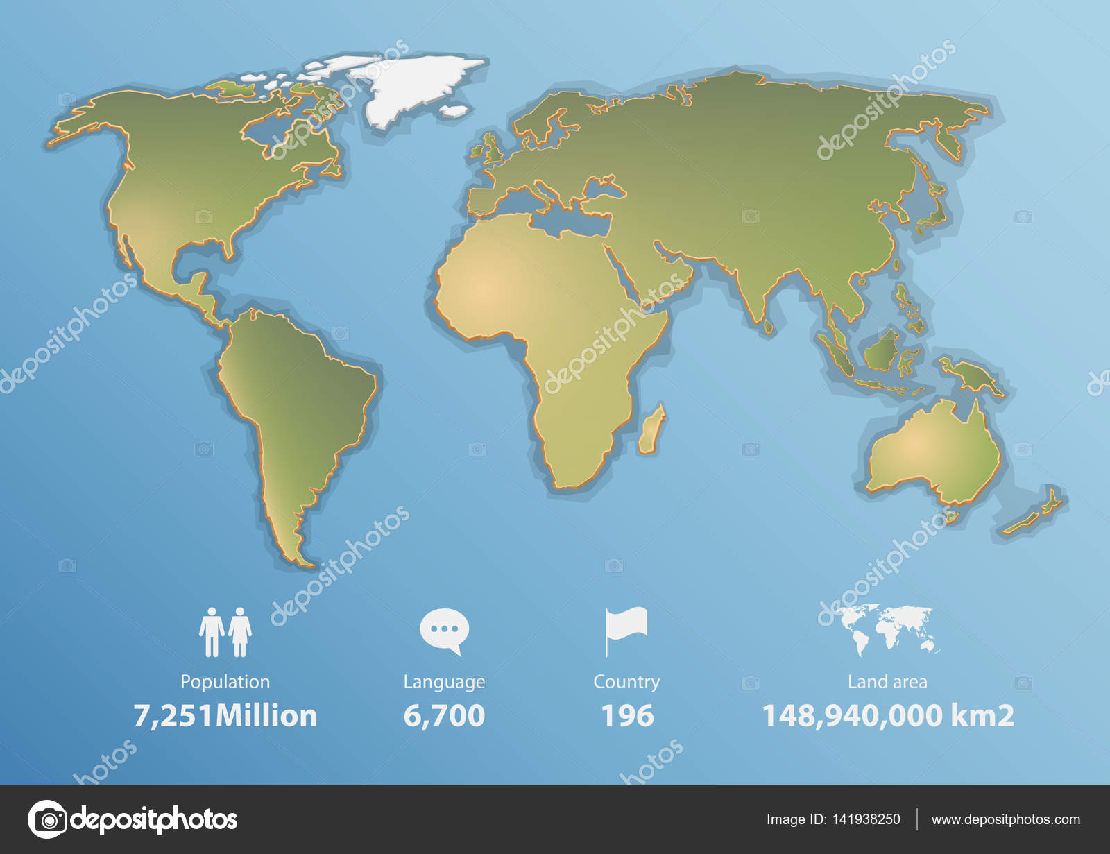Detailed world map with basic infographic, Blank map in flat design ...