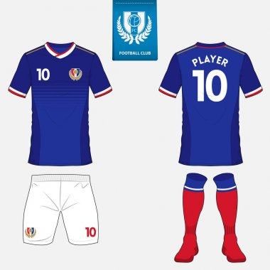 Set of soccer kit or football jersey template for football club. Flat football logo on blue label. Front and back view soccer uniform. Football shirt mock up.