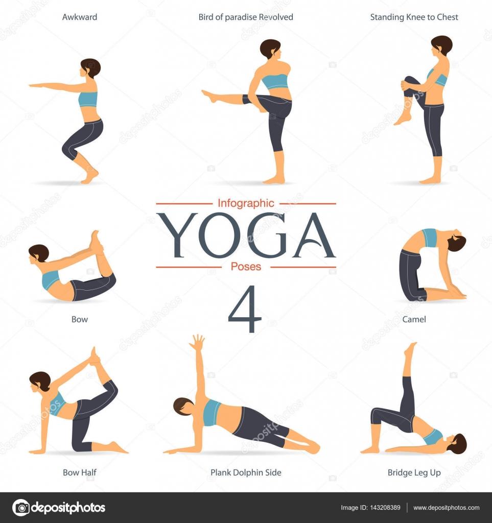 Conjunto de posturas de yoga en diseño plano. Infografía de yoga.  Ilustración de vector - imágenes  poses de yoga — Vector de  tond.ruangwit gmail.com ... 79da7a4d4464