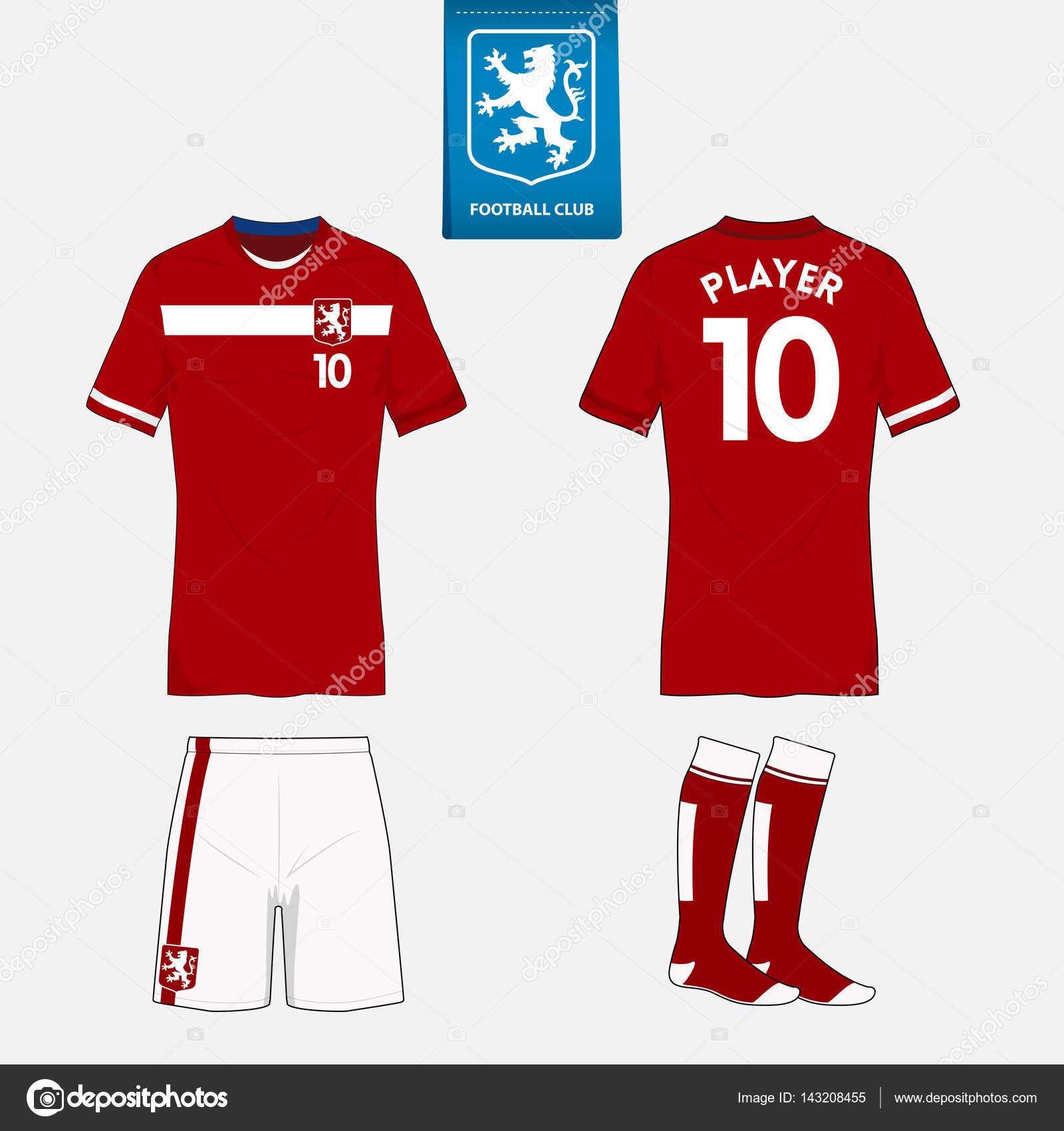 Set of soccer kit or football jersey template for football club. Flat  football logo on blue label. Front and back view soccer uniform. 4ee94478b
