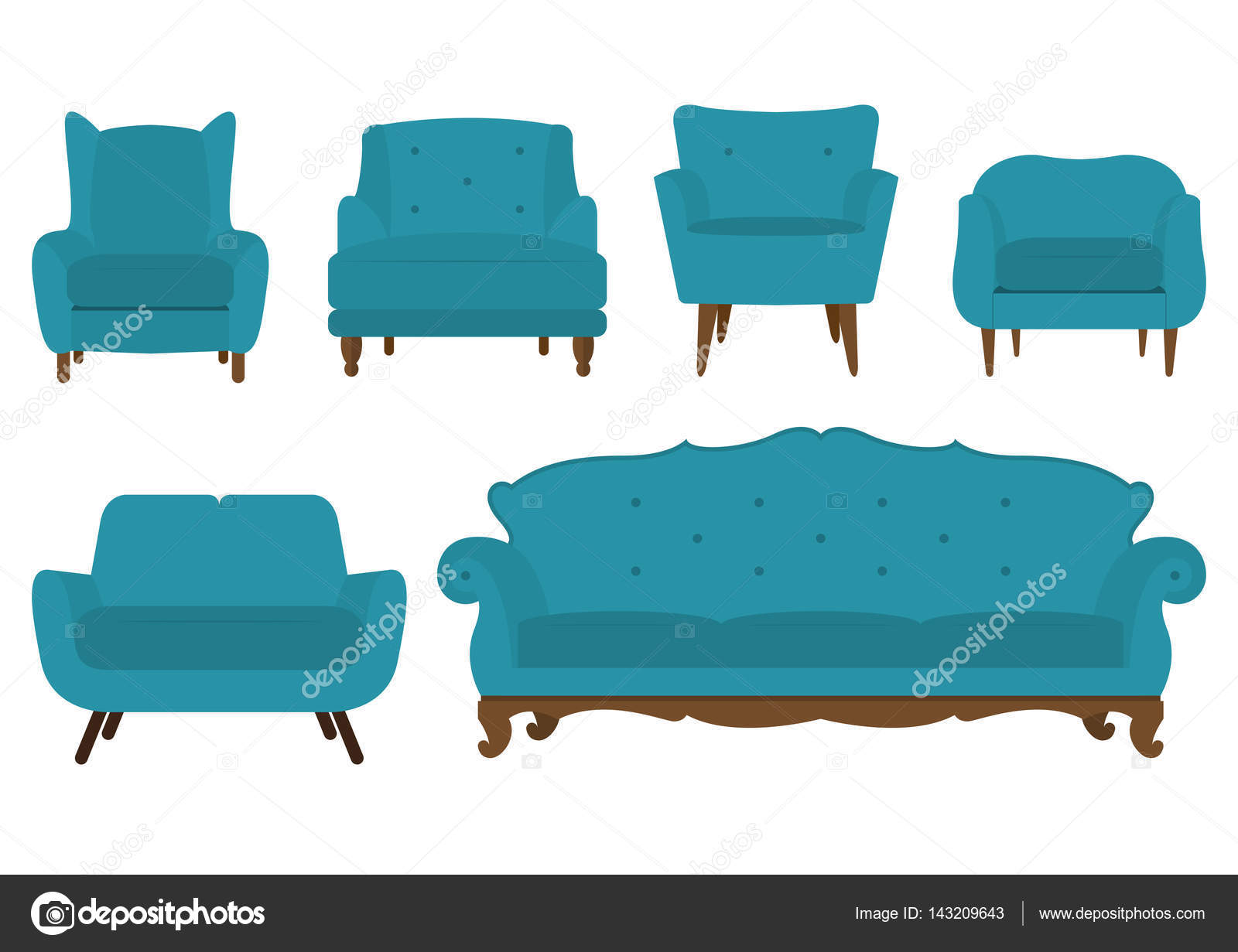 Astounding Satz Von Stuhl Sofa Und Sessel Im Flat Design Alphanode Cool Chair Designs And Ideas Alphanodeonline