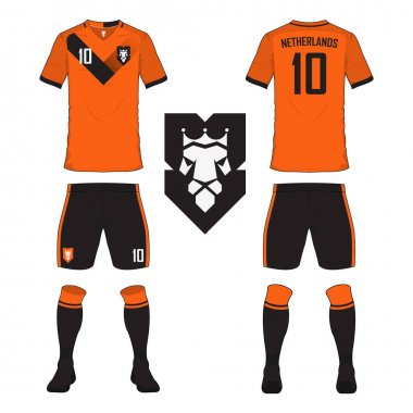 Set of soccer jersey or football kit template for Netherlands national football team. Front and back view soccer uniform. Sport shirt mock up.