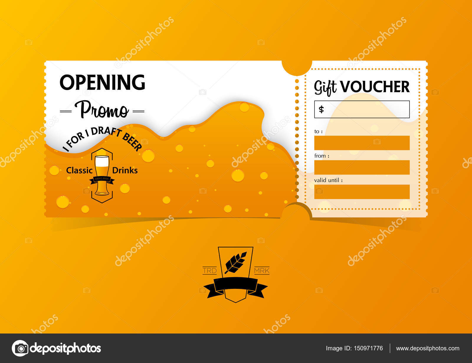 Discount gift vouchers template design for opening beer party ...